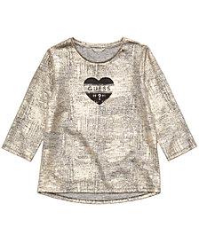 GUESS Big Girls Gold Logo-Print Knit Top