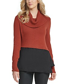 Mixed Media Cowlneck Peplum-Hem Sweater