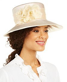 Satin Widebrim Hat with Flowers