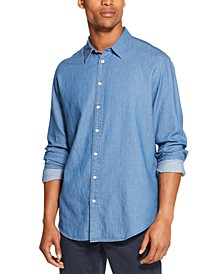 Men's Indigo Twill Shirt, Created for Macy's