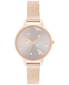 Women's Pearly Queen Rose Gold-Tone Stainless Steel Mesh Bracelet Watch 34mm
