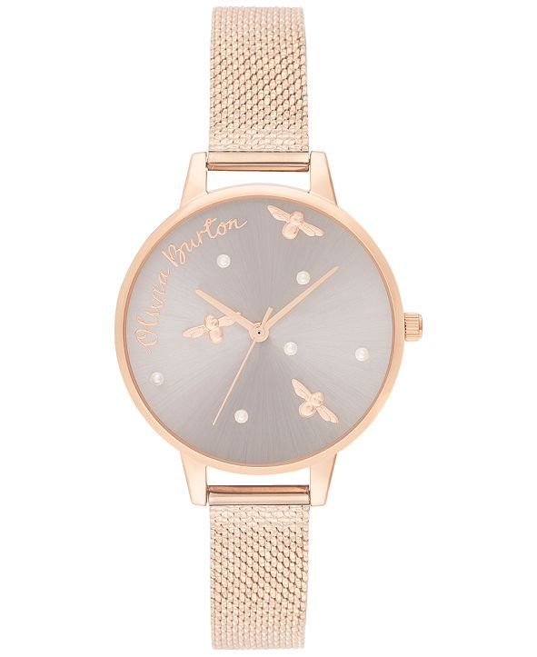 Olivia Burton Women's Pearly Queen Rose Gold-Tone Stainless Steel Mesh Bracelet Watch 34mm