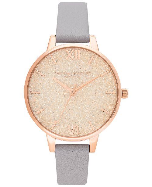 Olivia Burton Women's Gray Lilac Leather Strap Watch 34mm