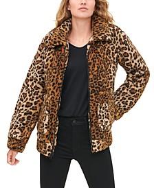 Women's Leopard Print Sherpa Jacket
