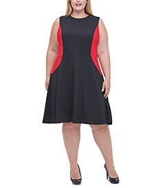 Plus Size Colorblocked Fit & Flare Dress