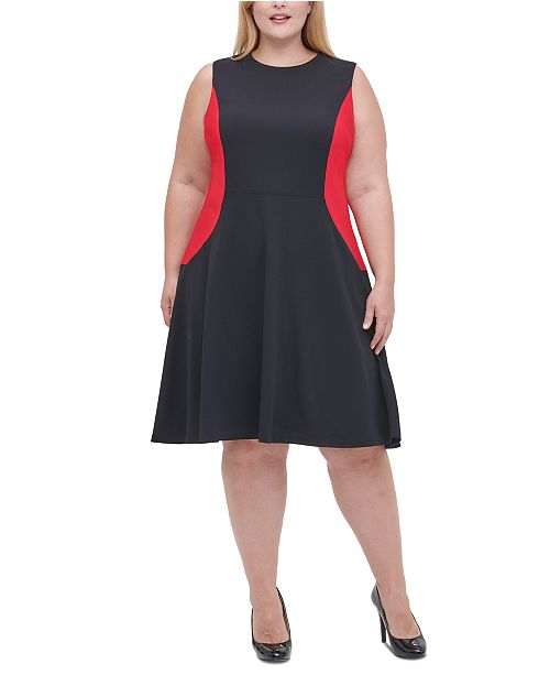 Tommy Hilfiger Plus Size Colorblocked Fit & Flare Dress