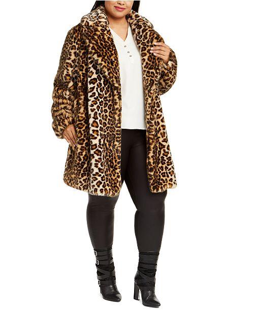 Beste Calvin Klein Plus Size Leopard-Print Faux-Fur Coat & Reviews VQ-23