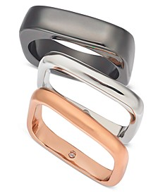 Tri-Tone 3-Pc. Set Square Stack Rings, Created For Macy's
