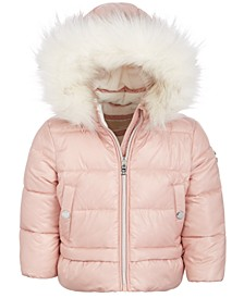 Baby Girls Faux-Fur Hooded Puffer Jacket