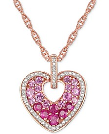 "Ruby (5/8 ct. t.w.) & Diamond (1/10 ct. t.w.) 18"" Heart Pendant Necklace in 14k Rose Gold Over Sterling Silver"
