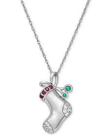 "Lab-Created Multi-Gemstone Stocking 18"" Pendant Necklace (1/3 ct. t.w.) in Sterling Silver"