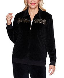 Alfred Dunner Bright Idea Embellished Velour Jacket