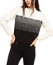 Mock-Neck Jacquard Sweater