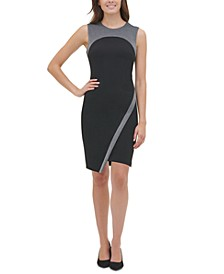 Metallic-Trim Asymmetrical Sheath Dress