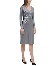 Metallic Crisscross Jersey Dress