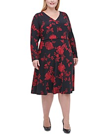 Plus Size Floral-Print Fit & Flare Dress