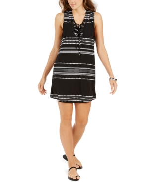 Dahlia Striped Lace-Up Tunic Cover-Up Women's Swimsuit