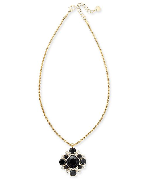 """Charter Club Gold-Tone Crystal & Stone Cluster Pendant Necklace, 17"""" + 2"""" extender, Created for Macy's"""