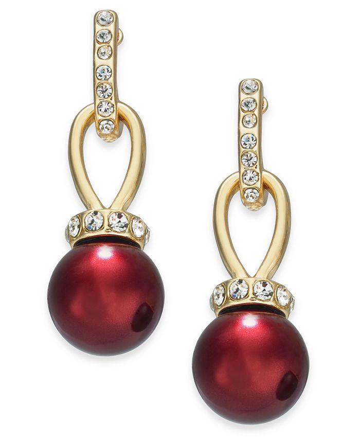 Charter Club - Imitation Pearl and Pavé Drop Earrings