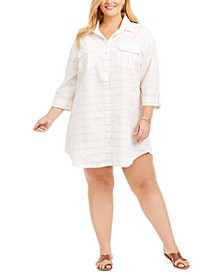 Plus Size Radiance Stripe Shirt Cover-Up Dress