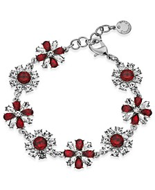 Silver-Tone Red Stone& Crystal Link Bracelet, Created For Macy's