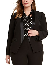 Trendy Plus Size Tuxedo Satin-Trim Blazer, Created For Macy's