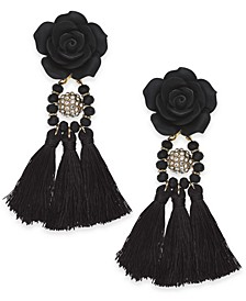INC Gold-Tone Rose & Tassel Drop Earrings, Created For Macy's