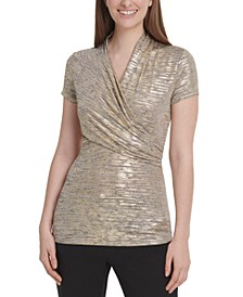 Foil-Knit Side-Ruched Top