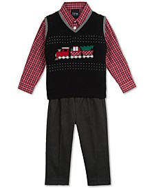 Baby Boys 3-Pc. Holiday Train Sweater Vest, Plaid Shirt & Pants Set