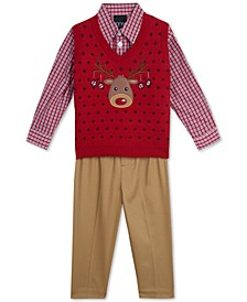 Baby Boys 3-Pc. Reindeer Sweater Vest, Plaid Shirt & Pants Set