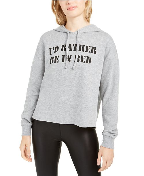 Pretty Rebellious Juniors' I'd Rather Be In Bed Graphic Hoodie