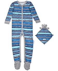 Baby Boys 2-Pc. Striped Footie Pajama & Bear Blankie Buddy Set, Created For Macy's