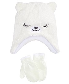 Toddler Girls 2-Pc. Faux-Sherpa Hat & Mittens Set