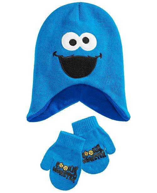 Sesame Street Toddler Boys & Girls 2-Pc. Cookie Monster Hat & Mittens Set