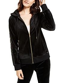 Velour Zip-Up Hoodie Jacket