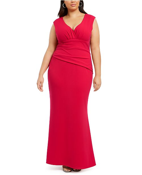 Betsy & Adam Plus Size Ruched Gown