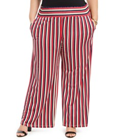 NY Collection Plus Size Printed Smocked-Waist Pants