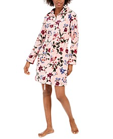 Women's Floral-Print Short Zipper Robe