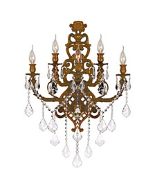 Versailles 5-Light French Gold Tone Finish Crystal Wall Sconce Light