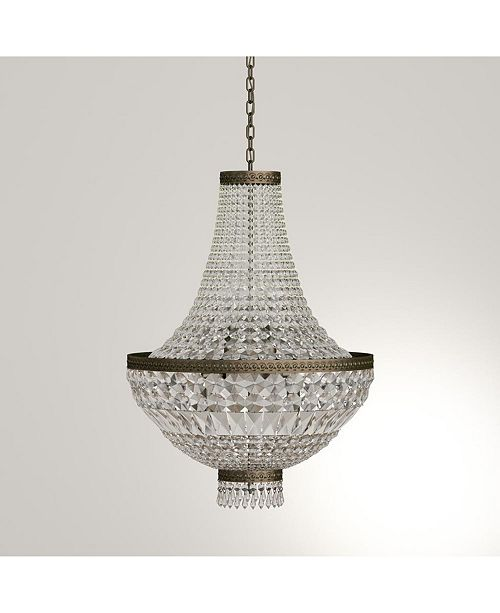 Worldwide Lighting Metropolitan 8-Light Antique Bronze Finish and Clear Crystal Chandelier
