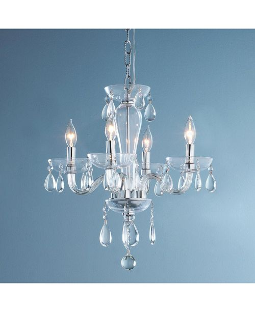 Worldwide Lighting Gatsby 5-Light Chrome Finish and Clear Blown Glass Chandelier