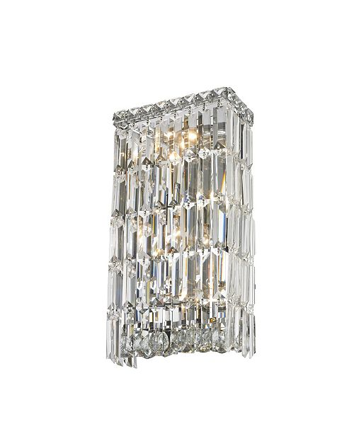 Worldwide Lighting Cascade 4-Light Chrome Finish Crystal Rectangular Wall Sconce Light