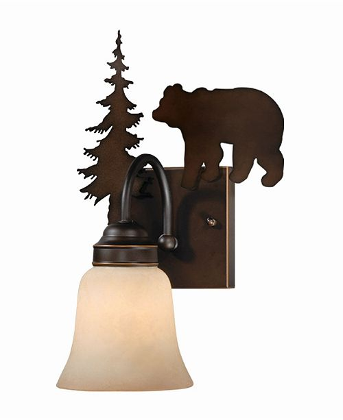Vaxcel Bozeman 1 Light Rustic Bear Vanity Light