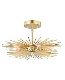 Nikko Gold-Tone Mid-Century Modern Sputnik Ceiling Light