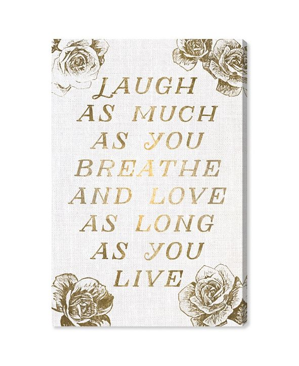 "Oliver Gal Laugh and Live Roses Canvas Art, 30"" x 45"""