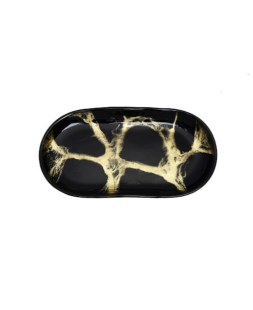 """Classic Touch 13.75"""" Marbleized Oval Dish"""