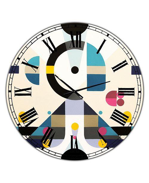 "Designart Open Minded Large Mid-Century Wall Clock - 36"" x 28"" x 1"""