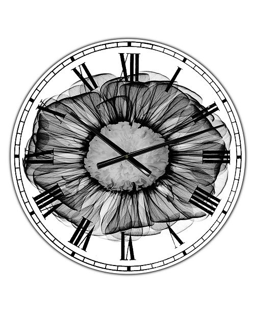 "Designart Zinnia Montage Black & White X-Ray Large Cottage Wall Clock - 36"" x 28"" x 1"""