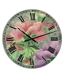 "Pink Peonies Large Cottage Wall Clock - 36"" x 28"" x 1"""