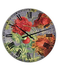 "Red Poppies Large Cottage Wall Clock - 36"" x 28"" x 1"""